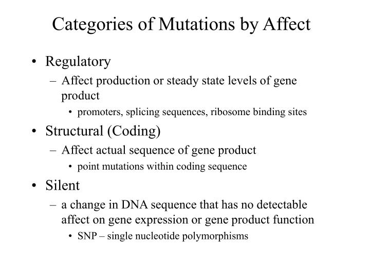 Categories of mutations by affect