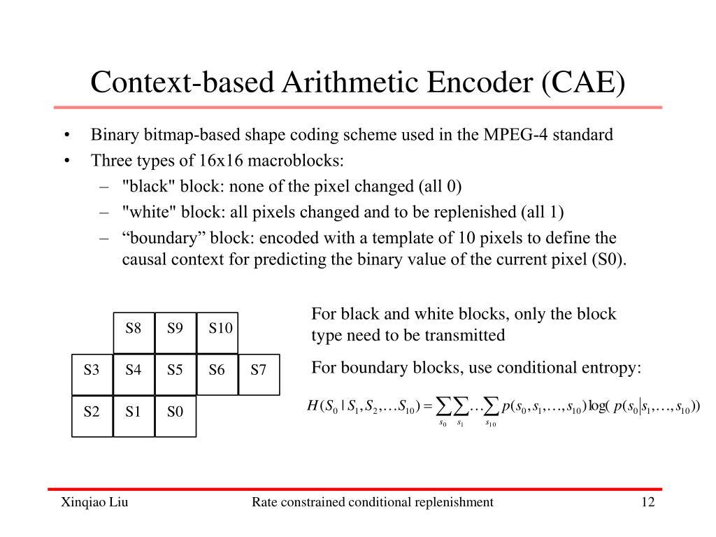 Context-based Arithmetic Encoder (CAE)