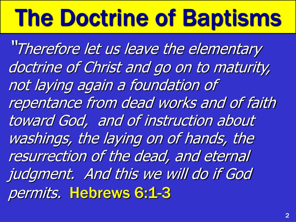 The Doctrine of Baptisms
