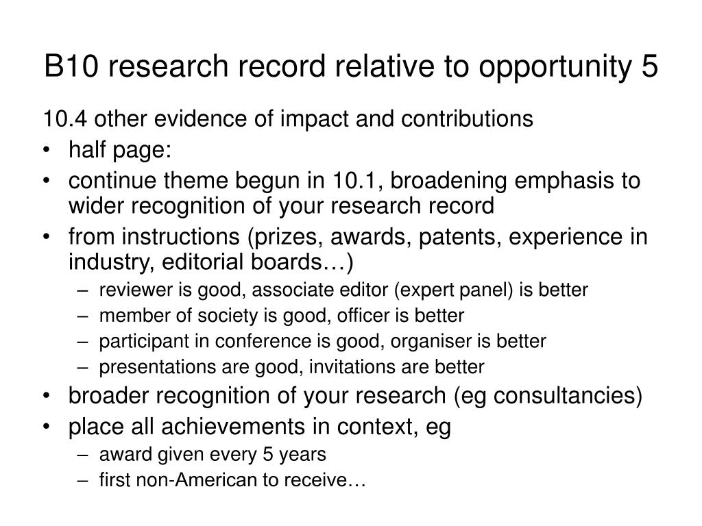 B10 research record relative to opportunity 5