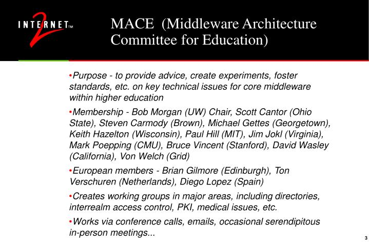 Mace middleware architecture committee for education