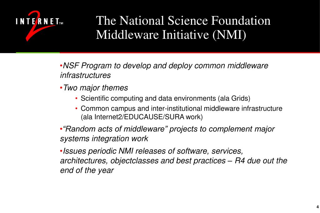 The National Science Foundation Middleware Initiative (NMI)