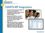 oaisys api integrations
