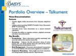 portfolio overview talkument