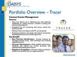 portfolio overview tracer