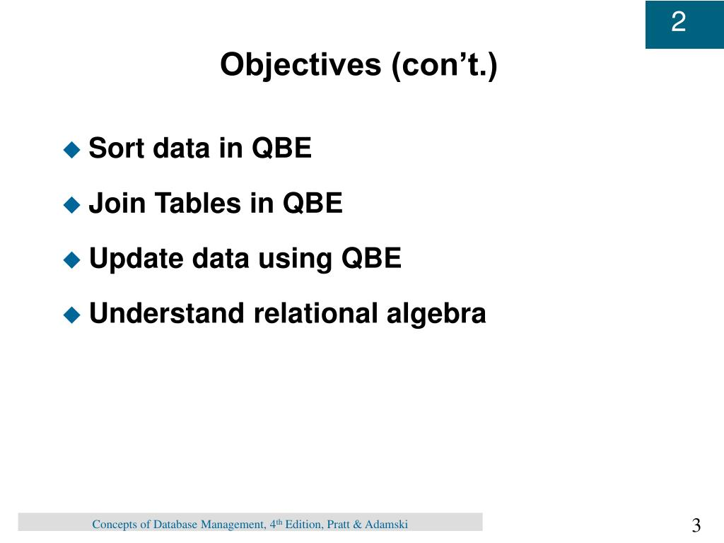 Objectives (con't.)