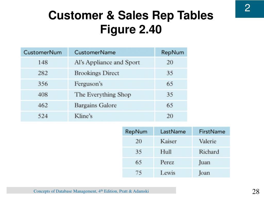 Customer & Sales Rep Tables