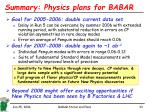 summary physics plans for babar