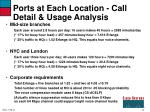 ports at each location call detail usage analysis