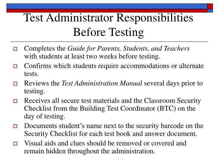 Test administrator responsibilities before testing