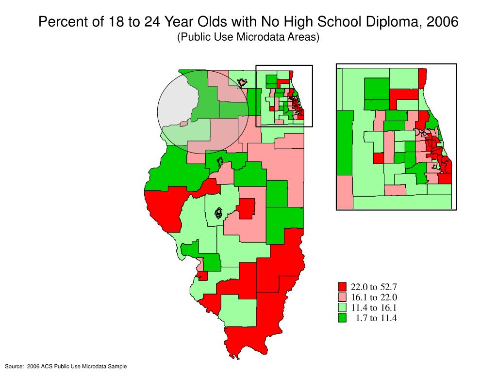 Percent of 18 to 24 Year Olds with No High School Diploma, 2006