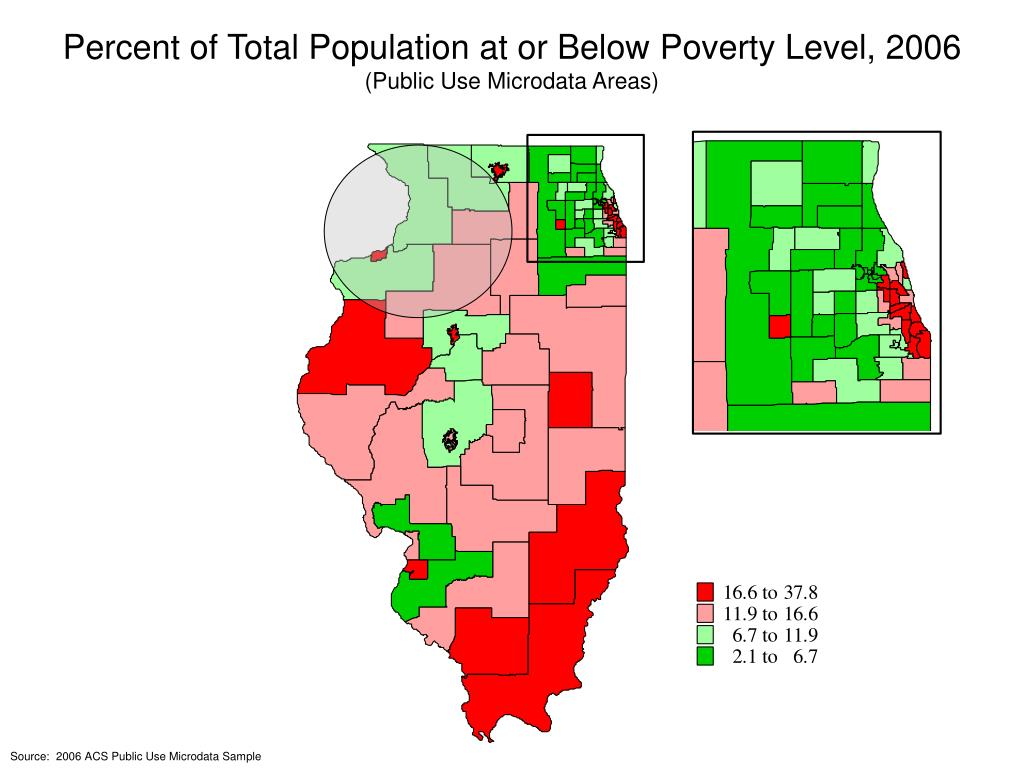 Percent of Total Population at or Below Poverty Level, 2006