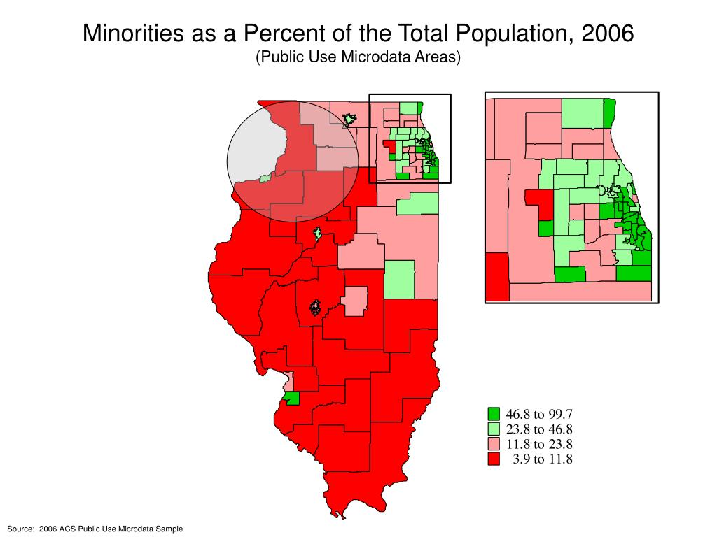 Minorities as a Percent of the Total Population, 2006