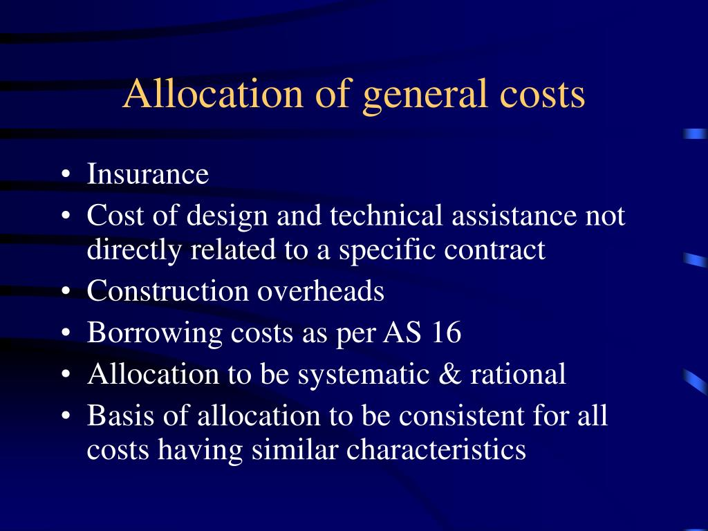 Allocation of general costs