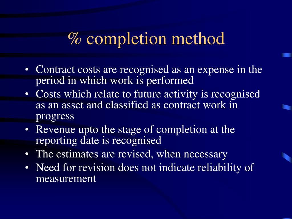 % completion method
