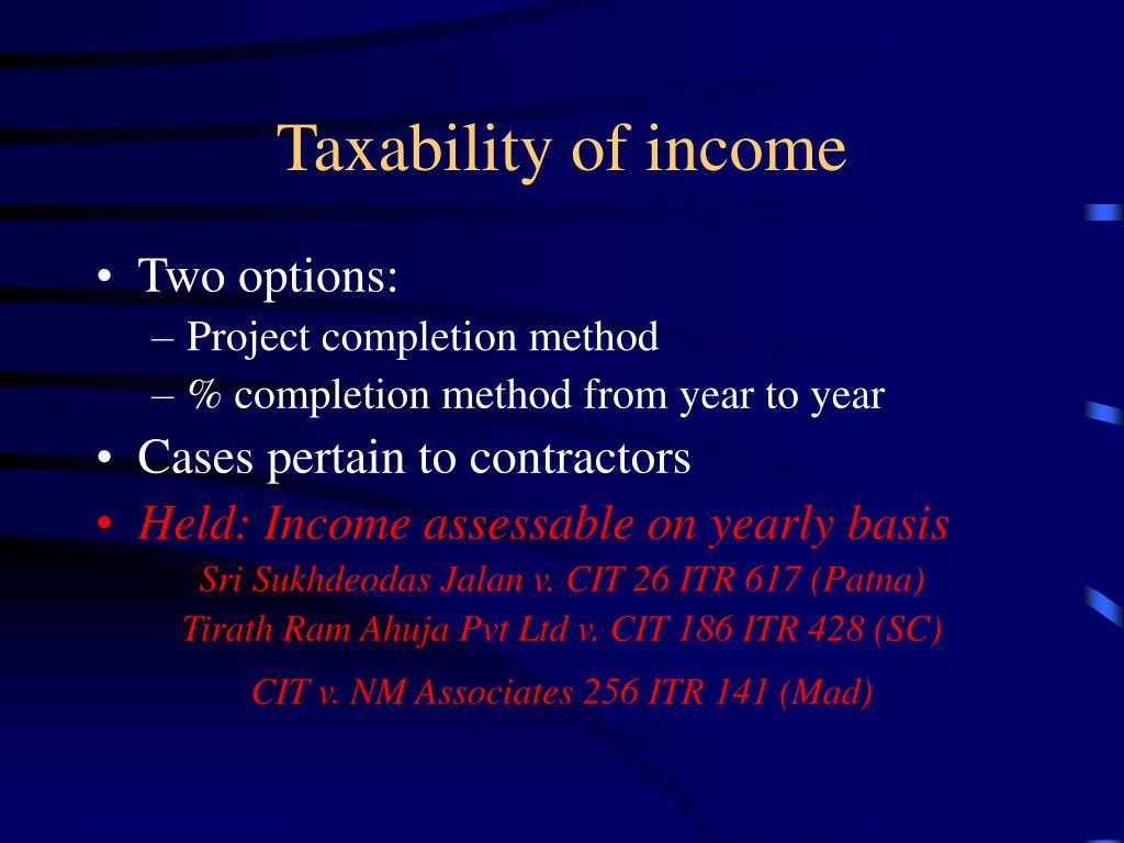Taxability of income