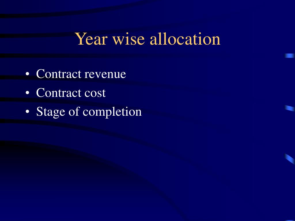 Year wise allocation