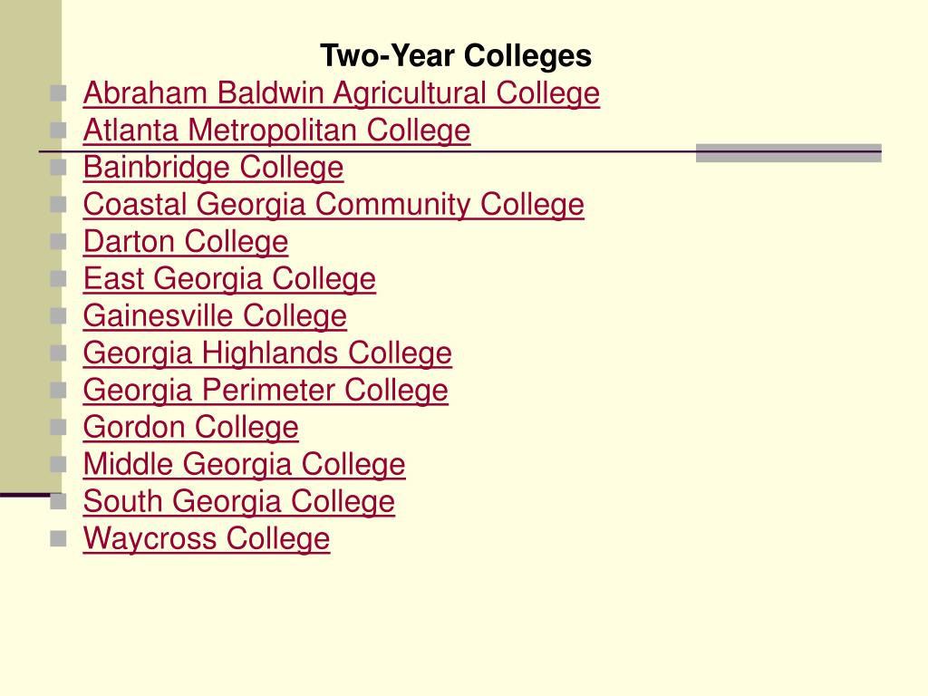 Two-Year Colleges