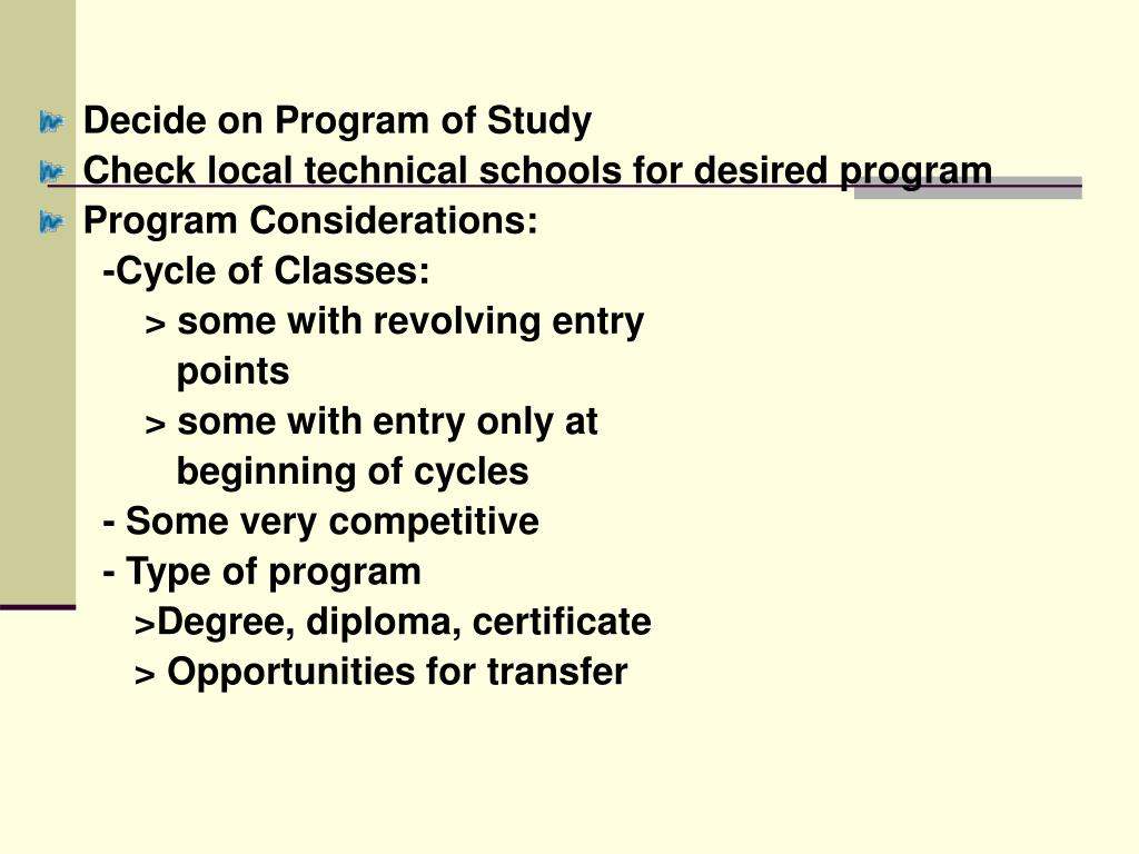 Decide on Program of Study