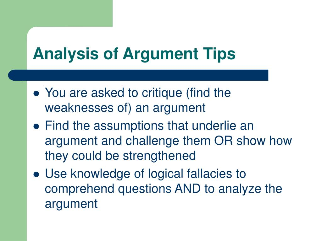 Analysis of Argument Tips