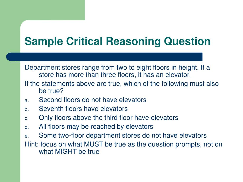 Sample Critical Reasoning Question