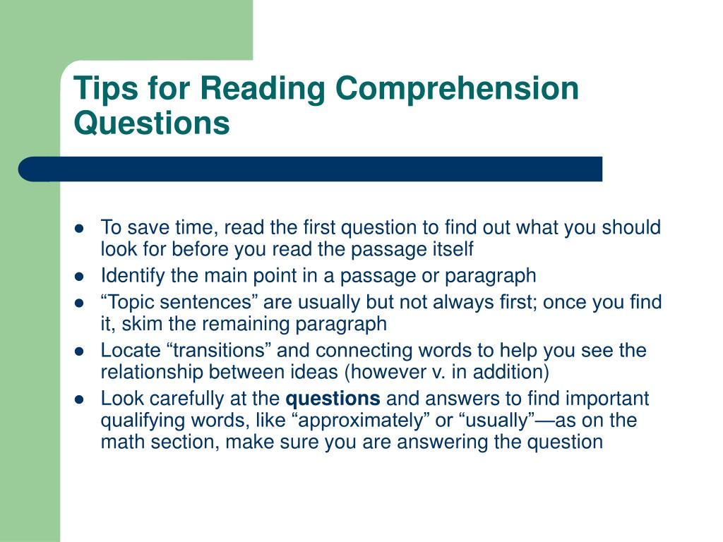 Tips for Reading Comprehension Questions