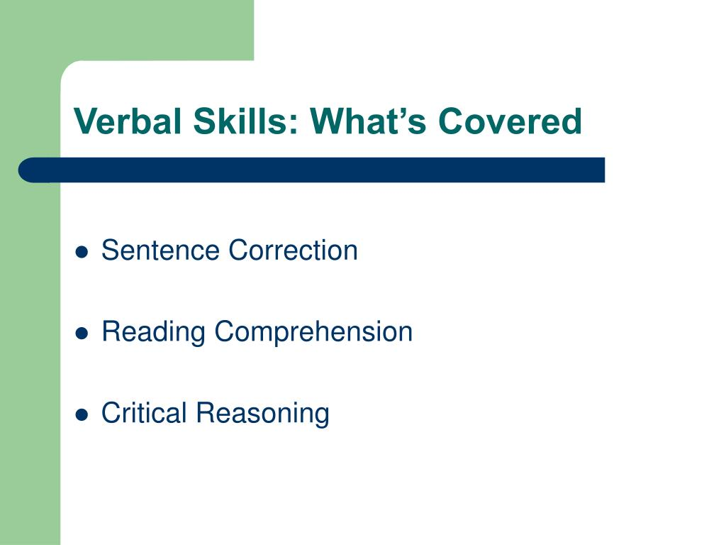 Verbal Skills: What's Covered