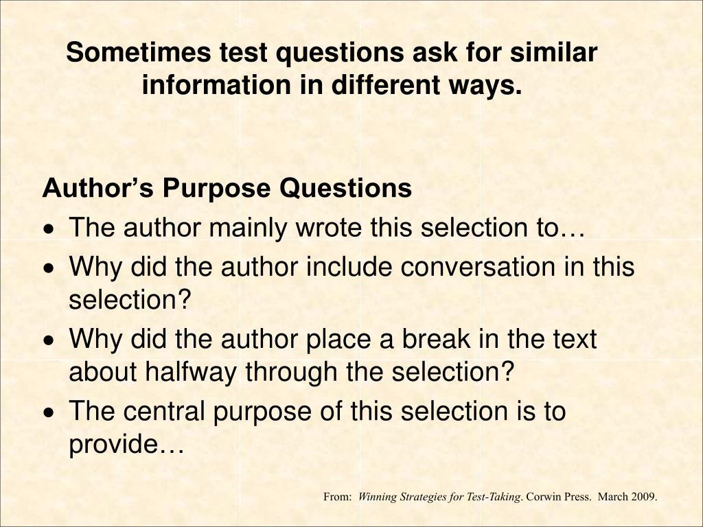 Author's Purpose Questions