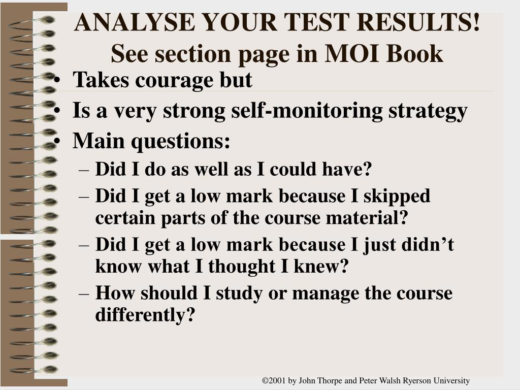 ANALYSE YOUR TEST RESULTS!