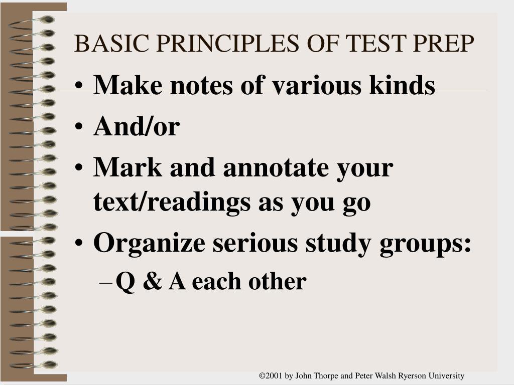 BASIC PRINCIPLES OF TEST PREP