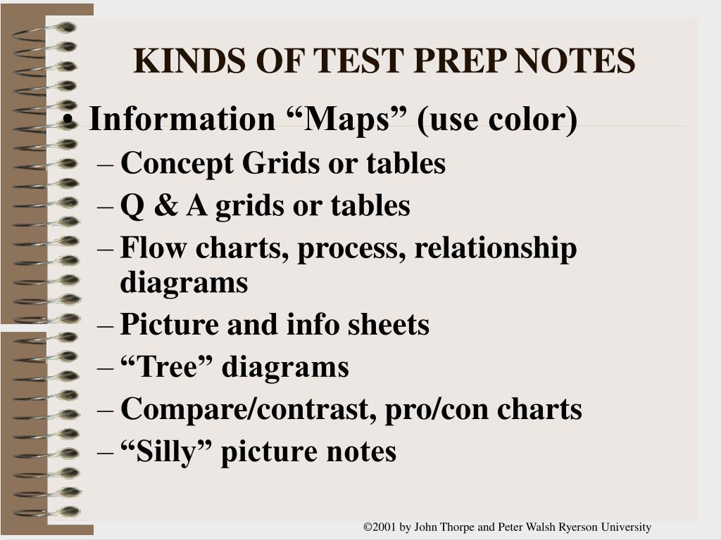KINDS OF TEST PREP NOTES