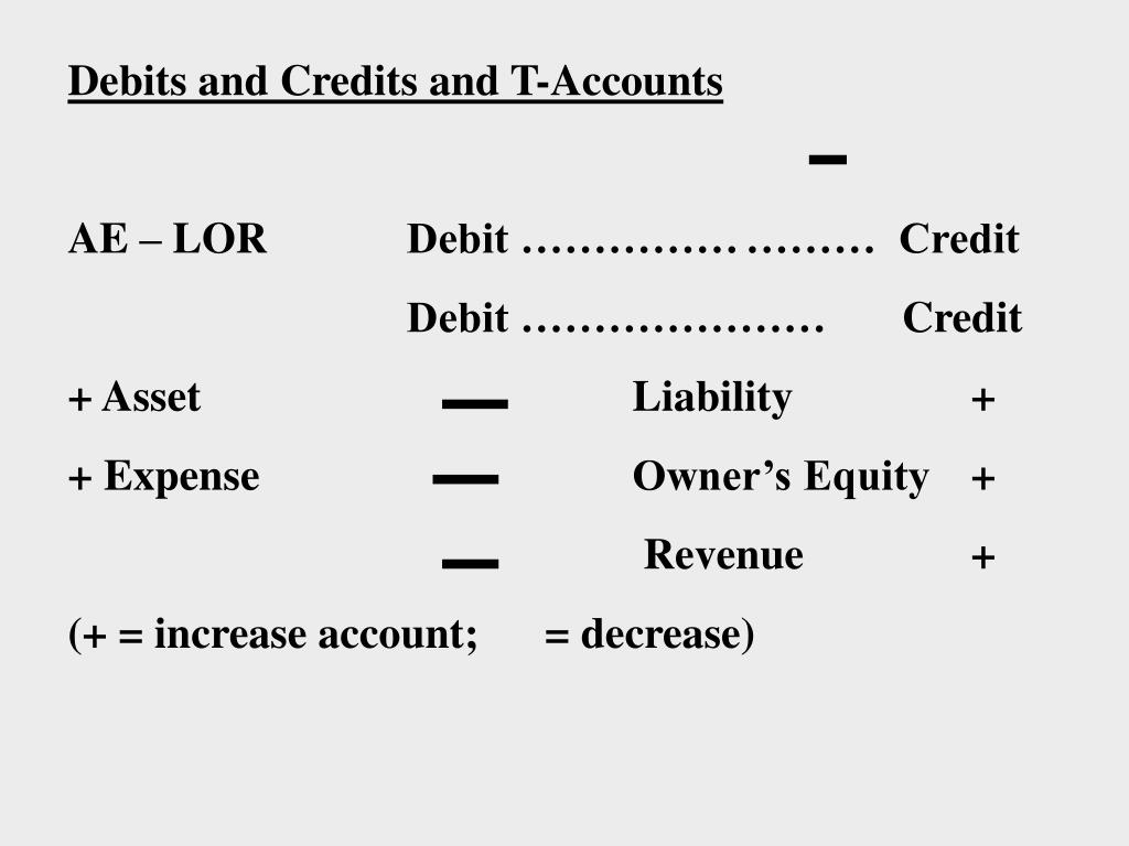 Debits and Credits and T-Accounts