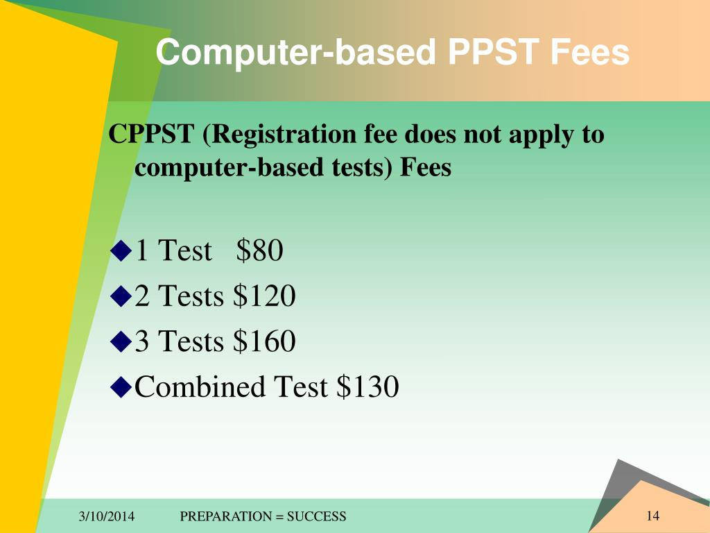 Computer-based PPST Fees