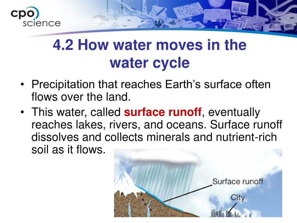 Precipitation that reaches Earth's surface often flows over the land.