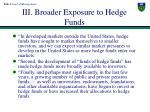 iii broader exposure to hedge funds