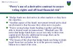 perry s use of a derivative contract to secure voting rights and off load financial risk