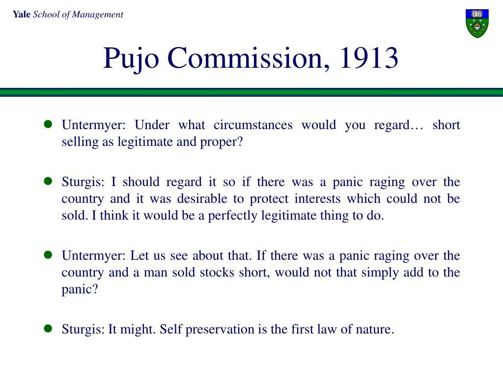 Pujo Commission, 1913