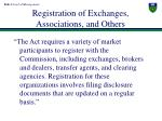 registration of exchanges associations and others