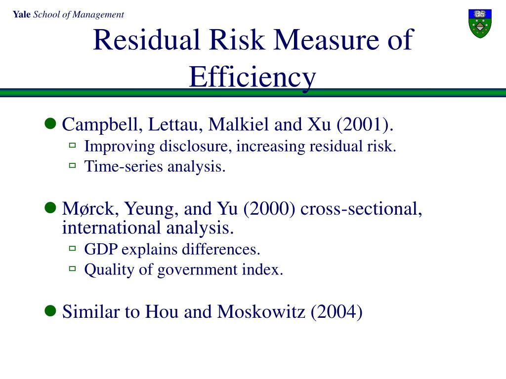 Residual Risk Measure of  Efficiency