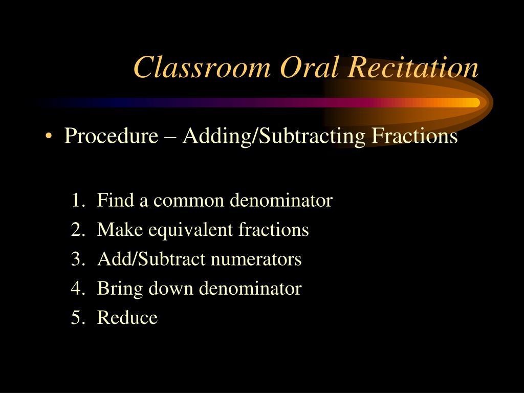 Classroom Oral Recitation
