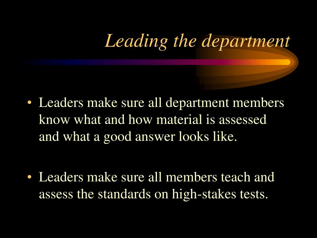 Leading the department
