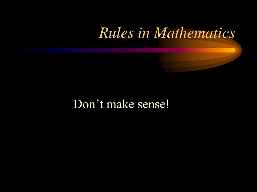 Rules in Mathematics