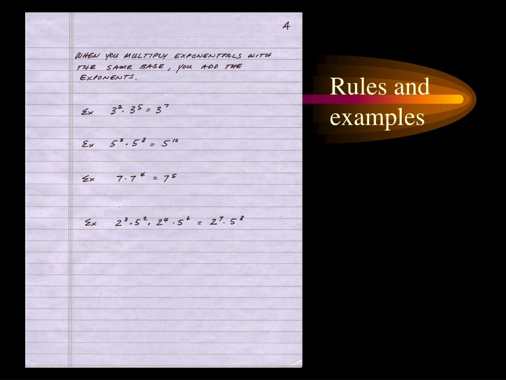 Rules and examples