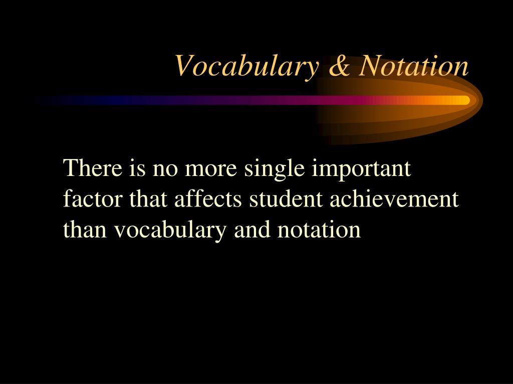 Vocabulary & Notation