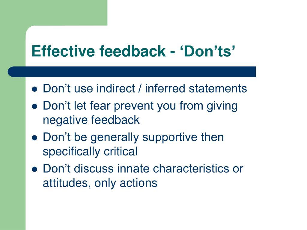 Effective feedback - 'Don'ts'