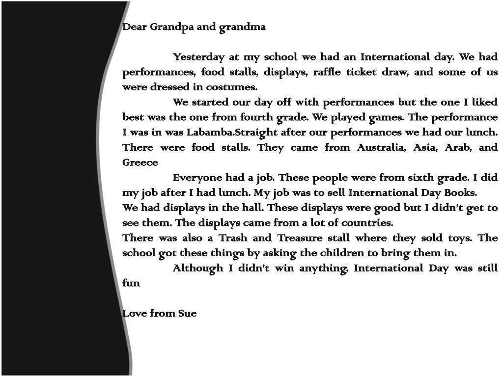 Dear Grandpa and grandma