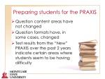preparing students for the praxis