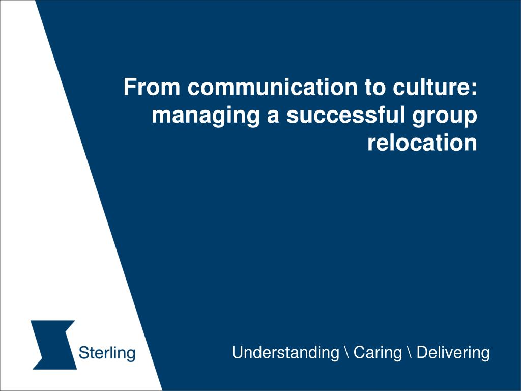 from communication to culture managing a successful group relocation l.