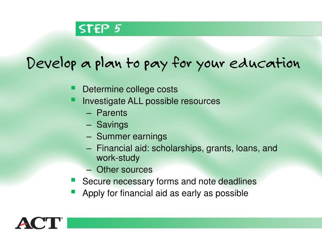 Determine college costs