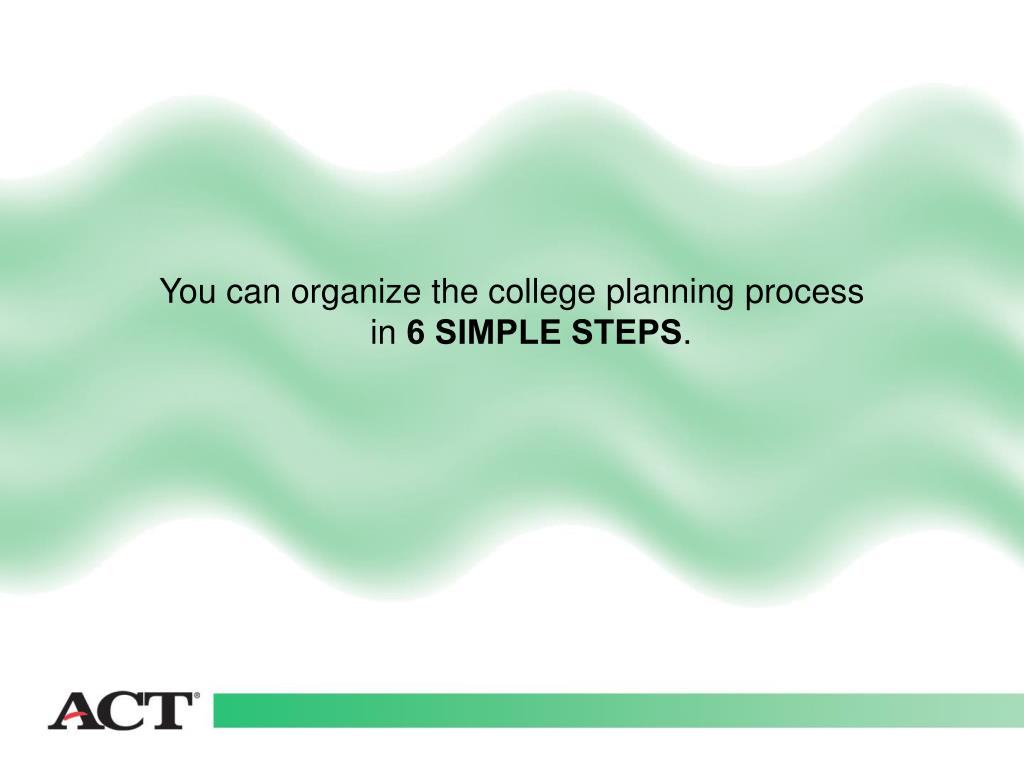 You can organize the college planning process